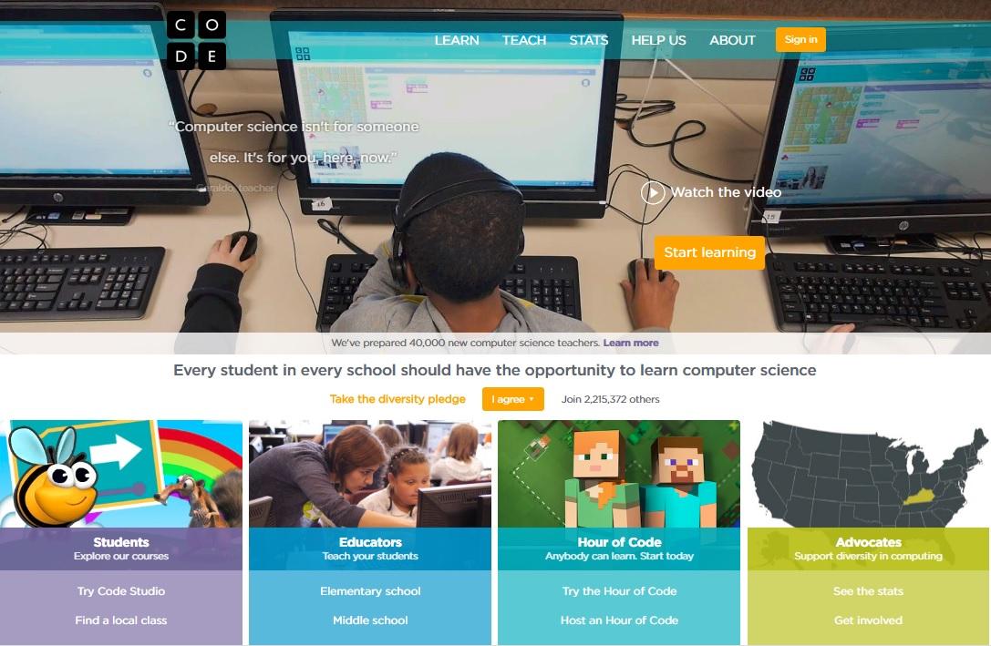 website Code.org mendorong semua orang untuk belajar coding.